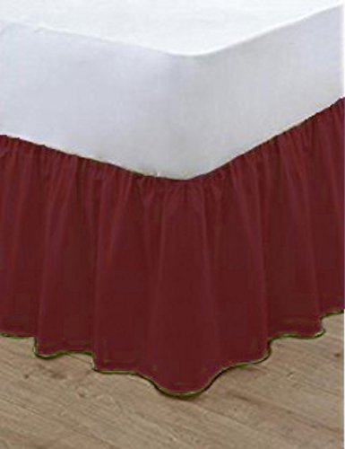 nz Plain Dyed Poly Cotton Soft Frilled Base Valance Sheets Bed Sheets Covers (Double, Wine) Bluemoon Bedding
