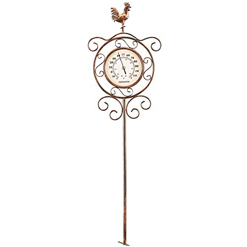 French Country Rooster Thermometer Garden