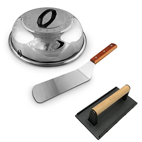 Large Cheese Melting Dome, Winco Flat Grill Melt Basting Cover Domes, Grill Lid Steam Cover, Heavy-Weight Cast Iron Grill Press/Hamburger Bacon Steak Grill Press + FREE Hamburger Turner Spatula