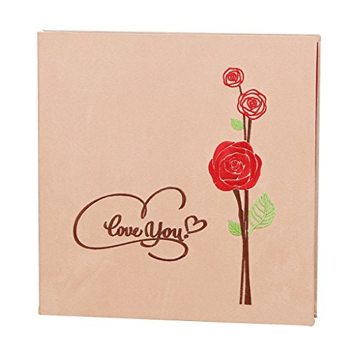 Photo Albums TYJY- Romantic Rose Embroidery Album, Couple Love Journey Record Book, Handmade Diy Scrapbook, Self-adhesive Inside Pages (Size : Large) by Photo Albums