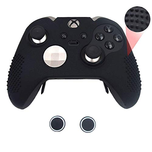Taifond Anti-Slip Silicone Controller Cover Protective Skins for Microsoft Xbox One Elite Controller with Two Thumb Grip Caps (Black)