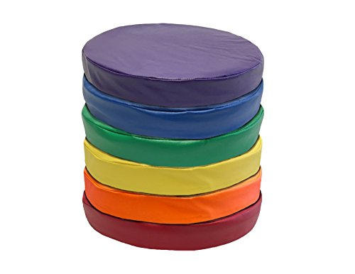 Kids Floor Seats, 6-Pack-16 inch KinderCushion, Comfortable 2 inches thick Circles, Story Time Cushions for school or home, Alternative Seating, Yellow Blue Green Red Purple Orange