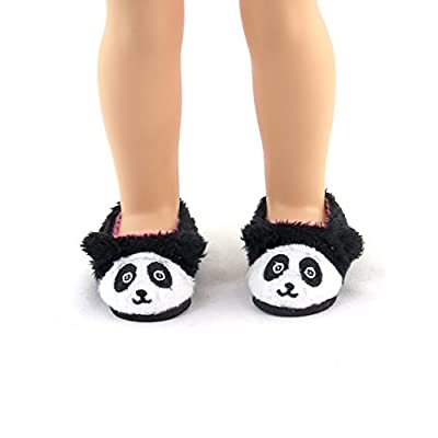 American Fashion World Panda Slippers fits 14 Inch Doll: Toys & Games