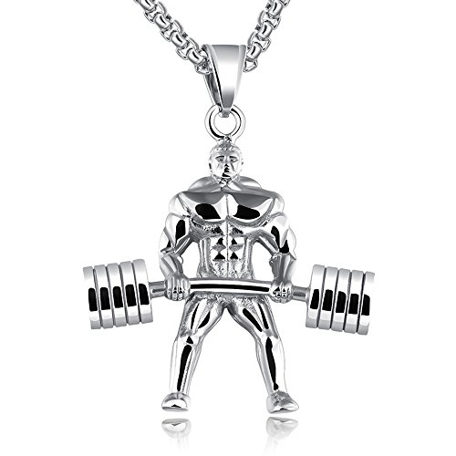 Link Barbell (Apopo Swag Weightlifting Barbell Pendant Silver Necklace, 22