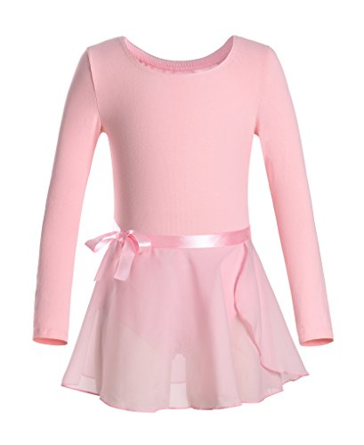 DANSHOW Girls Team Basic Long Sleeve Leotard with Skirt Kid Dance Ballet Tutu Dress (6-8, Pink)