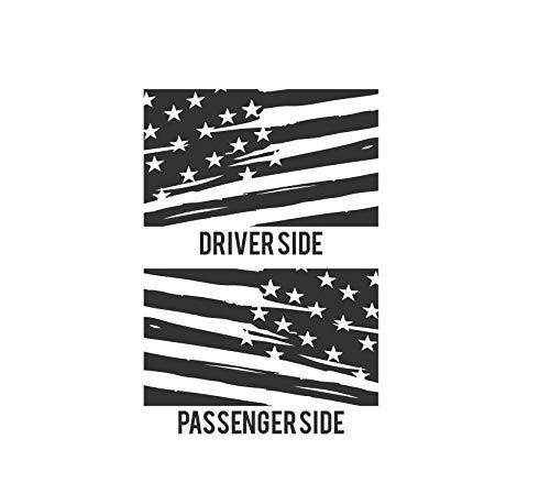Matte Black Distressed American Flag Decal for Jeep Wrangler JKU JLU 4 door