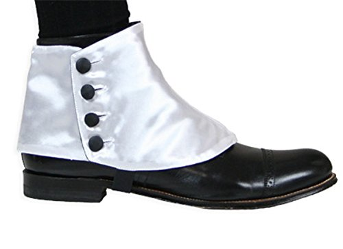 Historical Emporium Men's Premium Satin Button Spats M White/Black