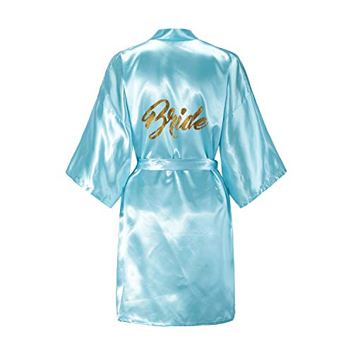 EPLAZA Women's One Size Bride Bridesmaid Short Satin Robes Gold Glitter Wedding Party Getting Ready (Acid Blue, -
