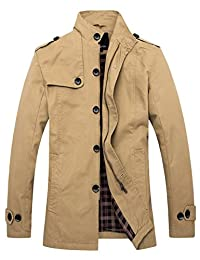 Wantdo Men's Cotton Stand Collar Windbreaker Jacket US Small Khaki