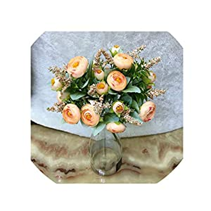 crystal004 Artificial Rose Flowers Wedding Bride Holding Floral Bouquet Silk Fake Flowers for Home Garden Decoration Simulation Plants,Champagne 14