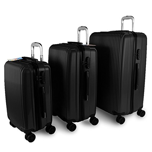 Solid Luggage Set 3 Piece Polycarbonate PC 4 Wheels Rolling Light Weight Spinner Suitcase Bundle TSA Approved Luggage Locks (Black) by Transformania Toys