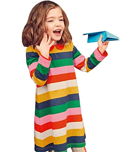 Jersey Baby Doll Dress - HILEELANG Toddler Girl Cute Doll Collar Rainbow Stripe Cotton Long Sleeve Casual Dress