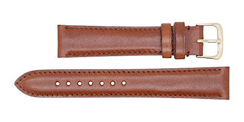 Quick Release American Saddle Genuine Leather Watch Strap Band – American Factory Direct - Gold & Silver Buckles – Made in USA by Real Leather Creations 17mm Cognac FBA770 by Real Leather Creations (Image #2)