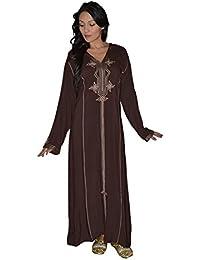 Women Hand Made Djellaba Embroidered Sixe X-Large Dark Brown