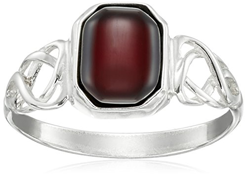 Sterling Silver Cherry Amber Celtic Design Ring, Size 6