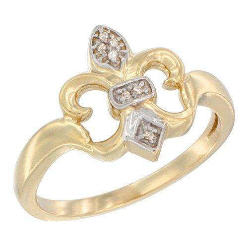 14K Yellow Gold Diamond Fleur De Lis Ring 5/8 inch wide, size 5.5