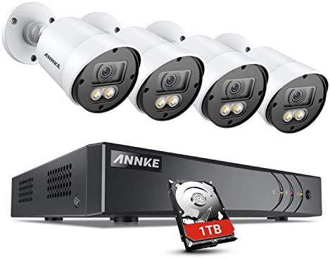 ANNKE 8CH 1080p Full Color Night Vision CCTV Camera System, H.265 5MP Surveillance DVR and 4pcs HD 1080p Security Cameras System for Home Outdoor with Smart Array LEDs, 1 TB Hard Drive