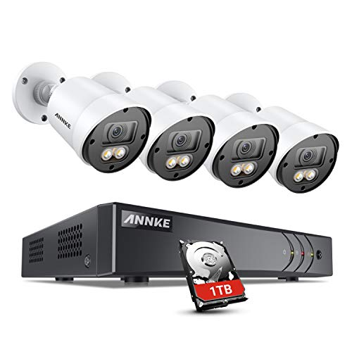 ANNKE 8CH 1080P Color Night Vision Camera Security System, H.265+ 5MP Wired Surveillance DVR and 4X 1080P HD Weatherproof Outdoor CCTV Cameras with Smart Array LEDs, Remote Access, 1TB Hard Drive