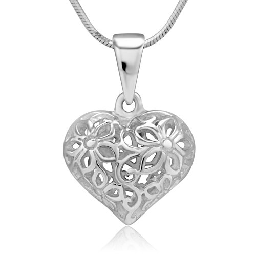 Sterling Silver Filigree Flower - Chuvora 925 Sterling Silver Flower Design Filigree Puff Heart Pendant Necklace, 18 inches