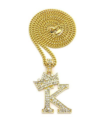 Crown Gold Rhodium Stone Initial Letters Pendant Necklace Cuban Chain