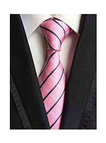 (L04BABY Men's Black Pink Striped Neckties Tie Jacquard Woven Silk Neck Ties)