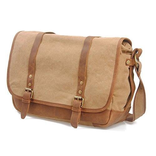 Retro Shopping Shoulder Khaki Messenger Zipper Briefcase Simple Bag Waterproof Color Canvas 1HHdTw