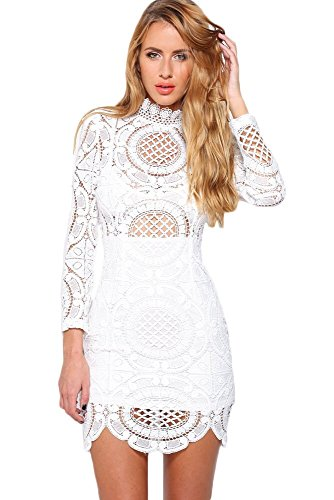 White Crochet Dress (EZON-CH Women's White Crochet Lace High Neck Mini Dress Size S)