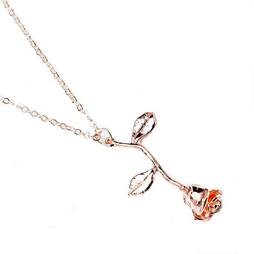 Shybuy Fashion Women 3D Rose Necklace Personalized Floral Pendant Necklace for Ladies (Rose Glod) - Genuine Cab Amethyst Pendant