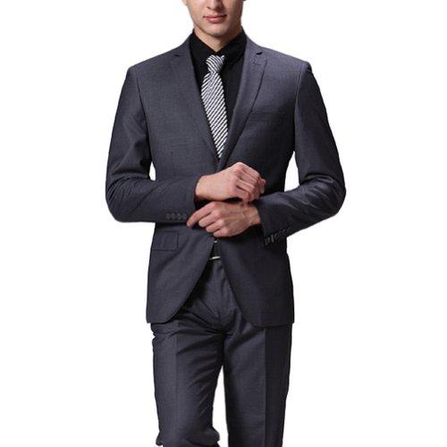 CMDC Men's Dark Gray Wedding Two-Button Groom Suit D-8(42)