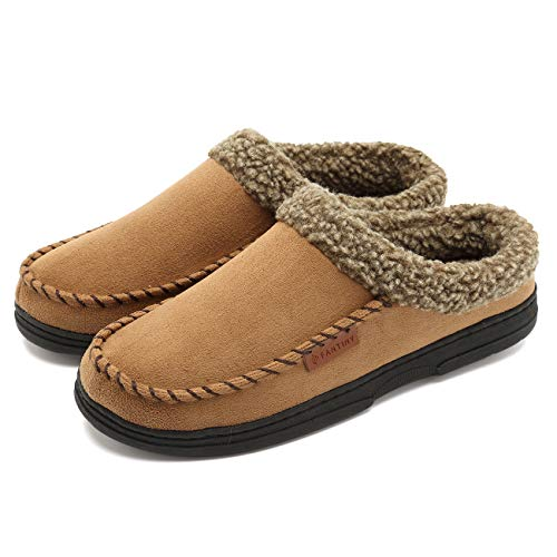 (CIOR Fantiny Men's Memory Foam Slipper Slip On Clog Moccasin Micro Suede Pile Lined Indoor & Outdoor-U118WMT009-tan-M-42)