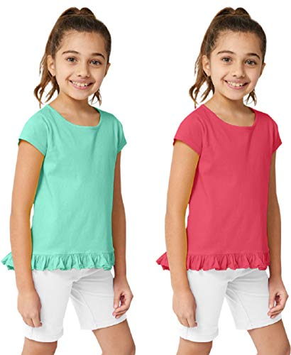 (KIDPIK Girls T Shirts 2Pack Coco Swing Top (Camellia Rose/Lucite Green)- L)