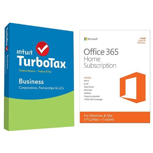 TurboTax Business 2015 Federal + Fed Efile Tax Preparation Software - PCDisc with Microsoft Office 365 Home 1 Year | 5 PC or 5 Mac Key Card