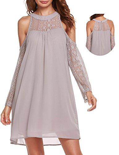 ACEVOG Womens Cold Shoulder Hollow Lace Long Sleeve Patchwork Top Shirt Dress Chiffon Dress Grey
