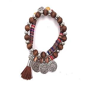 Bellissima bijoux – Women's Fashion – Double Wrap Elastic Bracelet with Wooden Bead and Stone