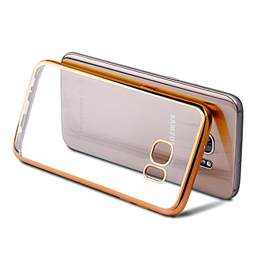 Galaxy S7 Case, TNI Stylish Chrome Color Bumper with Clear Back Cover for Galaxy S7 Phone (Gold)