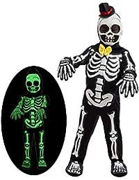 Spooky Skelebones Deluxe Skeleton Kids Toddler Costume Set Glow in The Dark Effect on Skull Halloween Dress Up Party