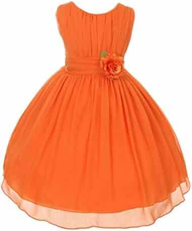 f61decaf7 Good Girl Little Girls Orange Floral Chiffon Flower Girl Easter Dress 4-6