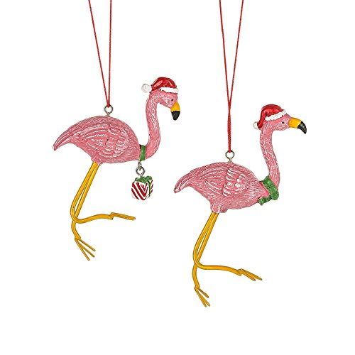 Pink Flamingo in Santa Hat Resin Stone Christmas Ornament Set of 2