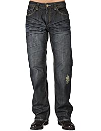 Men Relaxed Bootcut Vintage Dark Hand Rub Premium Denim Jeans Whiskering