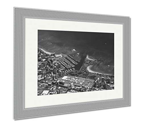 Ashley Framed Prints Waikiki Ala Wai Canal Ala Moana Mall Park And Ocean, Contemporary Decoration, Black/White, 26x30 (frame size), Silver Frame, - Ala Center Hawaii Moana