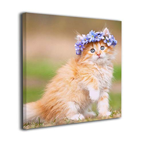 Warm-Tone Art Maine Coon Kitten Canvas Prints Wall Art Oil Paintings for Living Room Dinning Room Bedroom Home Office Modern Wall Decor -