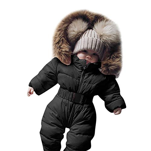 Yezijin Winter Infant Baby Boy Girl Romper Jacket Hooded Jumpsuit Warm Thick Coat Outfit for 0-24 Months (70(Age: 6-9 Monthes), Black)