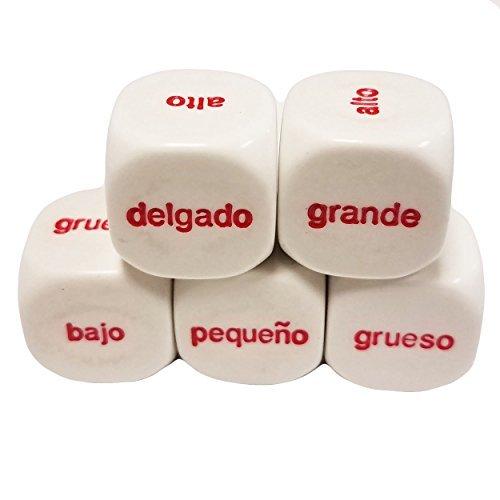 セットof 5教育Dice比較Wordsスペイン語–Comparaciones ESPAÑOL 19mmホワイトで雪オーガンジーバッグ