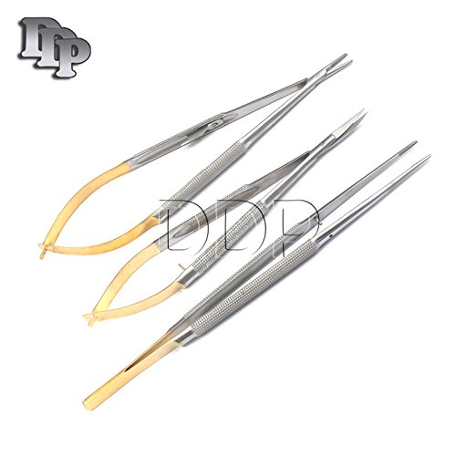 Needle Holder Curved - DDP 3 CASTROVIEJO Micro Scissors Needle Holder Curved TC Forceps Dental Eye Set KIT