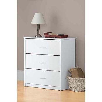 Amazon.com: White 3 Drawer Dresser Chest Wood Bedroom Furniture ...