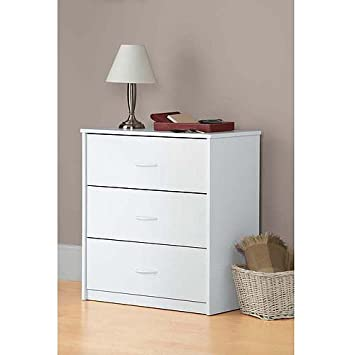 Amazon.com: White 3 Drawer Dresser Chest Wood Bedroom Furniture ...