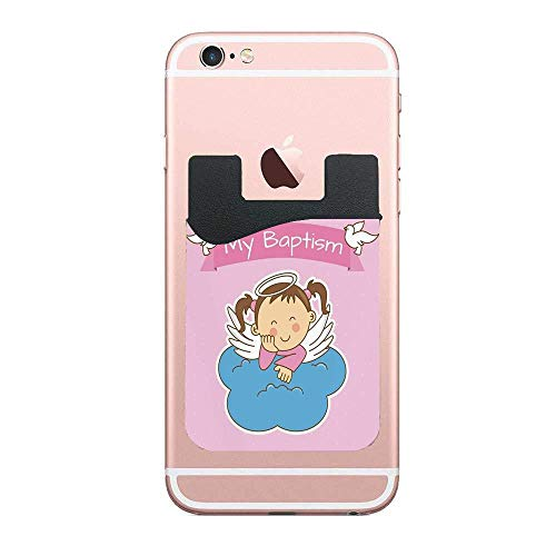 Art Custom Announcements - Baptism Pair of Wings on a Cloud Girl Baptism Anniversary Baby Announcement Cartoon Art 2 PCS Wallet Stick-on Card Wallet for Smartphones Card Holder for iPhone, Android, and More