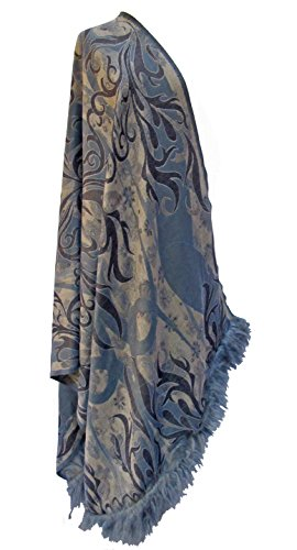 Midnight Garden Merino Shawl Scarf Stole Wrap Throw Mongolian Fur Trim Blue