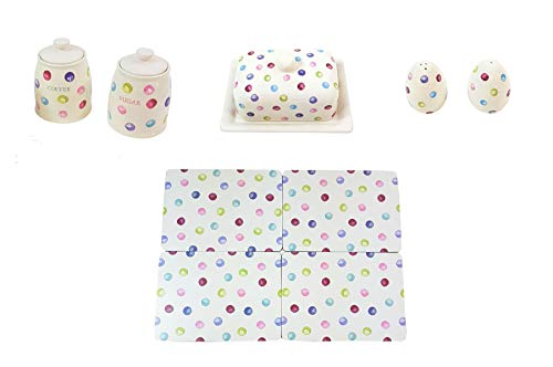 (9 PIECE PRINTED SPOTS DOTS COFFEE SUGAR CANISTERS BUTTER DISH SALT PEPPER SHAKERS PLACEMATS)