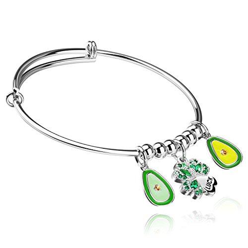 Desberry Expandable Wire Bangle Bracelet, Green Life with Avocado Charms Bracelet 2.5